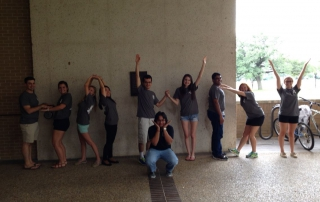 Grad Camp 2015- Counselors/Chairs spelling out HOWDY